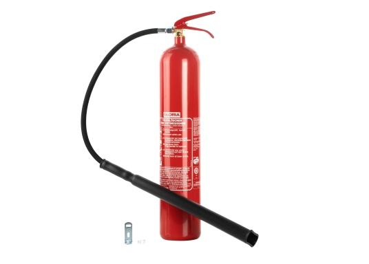 Tragbarer Kohlendioxid-Feuerlöscher in Stahlausführung. Zugelassen nach DIN EN 3 für die Brandklasse B. Kohlendioxid ist ein rückstandsfreies Löschmittel, welches nicht elektrisch Leitfähig ist, daher eignen sich die Feuerlöscher zumLöschen von Elektroanlagen, Diesel und Benzinbränden.