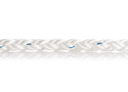 Squareline-PES ist eine bequem zu handhabende Festmacher- sowie Ankerleine und besteht aus einem 8-fachen Quadratgeflecht. Einfach zu spleißen und mit einem Kettenvorläufer zu verbinden. Farbe: weiß. Preis pro Meter. (Bild 2 von 5)
