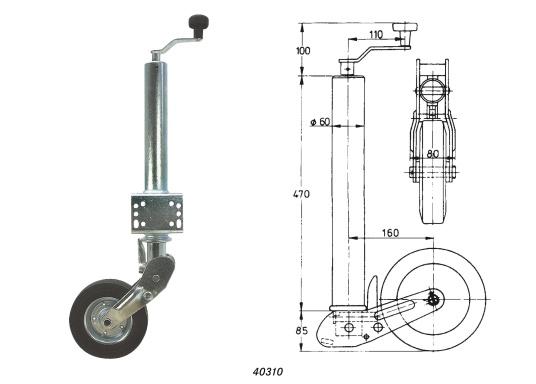 Das Stützrad ist typgeprüft und solide –diese zugelasseneAnhängerstützeistdauerhaft korrosionsgeschützt. Geeignet für Zugdeichseln bis 70 mmRohr-Ø.Mit abklappbarem Rad, das Rad wird beim Hochkurbeln automatisch angeklappt. Stützlast 250 kg, Hub 225 mm, Radgröße 200 x 50 mm, Vollgummi.  (Bild 4 von 4)