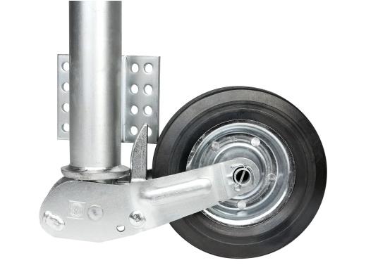 Das Stützrad ist typgeprüft und solide –diese zugelasseneAnhängerstützeistdauerhaft korrosionsgeschützt. Geeignet für Zugdeichseln bis 70 mmRohr-Ø.Mit abklappbarem Rad, das Rad wird beim Hochkurbeln automatisch angeklappt. Stützlast 250 kg, Hub 225 mm, Radgröße 200 x 50 mm, Vollgummi.  (Bild 3 von 4)