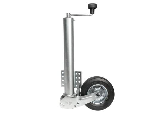 Das Stützrad ist typgeprüft und solide –diese zugelasseneAnhängerstützeistdauerhaft korrosionsgeschützt. Geeignet für Zugdeichseln bis 70 mmRohr-Ø.Mit abklappbarem Rad, das Rad wird beim Hochkurbeln automatisch angeklappt. Stützlast 250 kg, Hub 225 mm, Radgröße 200 x 50 mm, Vollgummi.