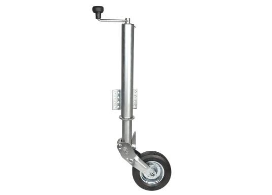 Das Stützrad ist typgeprüft und solide –diese zugelasseneAnhängerstützeistdauerhaft korrosionsgeschützt. Geeignet für Zugdeichseln bis 70 mmRohr-Ø.Mit abklappbarem Rad, das Rad wird beim Hochkurbeln automatisch angeklappt. Stützlast 250 kg, Hub 225 mm, Radgröße 200 x 50 mm, Vollgummi.  (Bild 2 von 4)