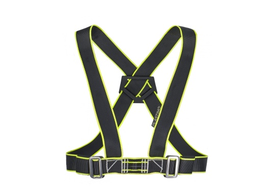 This ergonomic PLASTIMO safety harness is double adjustable, thus fitting all body shapes. Quickly and easily adjustable on the waistband and shoulder straps. X-shaped back for added comfort and freedom of movement.