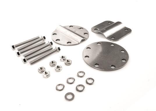 Passendes Ersatzhalter-Set für den Fenderkorb 3-fach. Bestehend aus drei Halteplatten, Schrauben und Muttern. Material: Edelstahl A4. (Bild 2 von 2)
