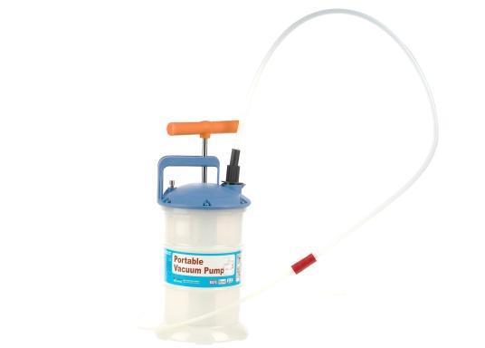 Universelle, einfach zu bedienende Absaugpumpe für Öle, Wasser und ähnliche Flüssigkeiten. Mithilfe von wenigen Hüben mit der Handpumpe wird ein Vakuum aufgebaut, das die Flüssigkeit in den Auffangbehälter saugt. Volumen: 2,7 Liter. (Bild 2 von 5)