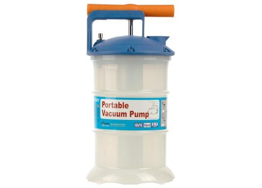 Universelle, einfach zu bedienende Absaugpumpe für Öle, Wasser und ähnliche Flüssigkeiten. Mithilfe von wenigen Hüben mit der Handpumpe wird ein Vakuum aufgebaut, das die Flüssigkeit in den Auffangbehälter saugt. Volumen: 2,7 Liter. (Bild 3 von 5)