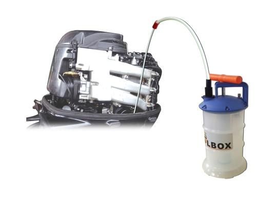 Universelle, einfach zu bedienende Absaugpumpe für Öle, Wasser und ähnliche Flüssigkeiten. Mithilfe von wenigen Hüben mit der Handpumpe wird ein Vakuum aufgebaut, das die Flüssigkeit in den Auffangbehälter saugt. Volumen: 2,7 Liter. (Bild 5 von 5)