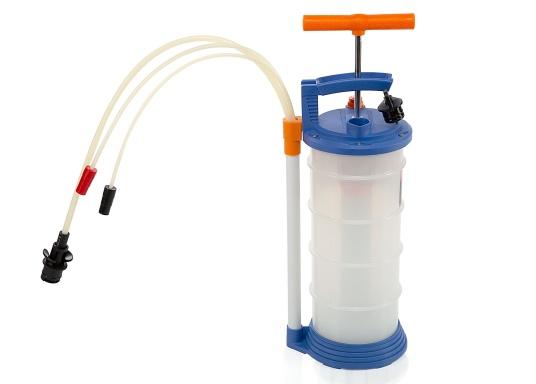 Universelle, einfach zu bedienende Absaugpumpe für Öle, Wasser und ähnliche Flüssigkeiten. Mithilfe von wenigen Hüben mit der Handpumpe wird ein Vakuum aufgebaut, das die Flüssigkeit in den Auffangbehälter saugt. Volumen: 4,0 Liter.