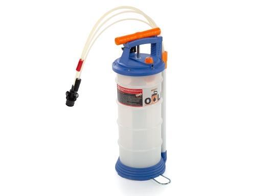 Universelle, einfach zu bedienende Absaugpumpe für Öle, Wasser und ähnliche Flüssigkeiten. Mithilfe von wenigen Hüben mit der Handpumpe wird ein Vakuum aufgebaut, das die Flüssigkeit in den Auffangbehälter saugt. Volumen: 4,0 Liter. (Bild 2 von 6)