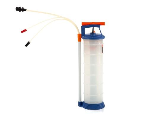 Pompe de vidange universelle, facile à utiliser, pour huiles, eau et autres liquides. Actionnez la pompe en élevant et en abaissant la poignée. En quelques instants, un vide se créé qui aspire le liquide dans le réceptacle de la pompe. Volume : 6,5 l.