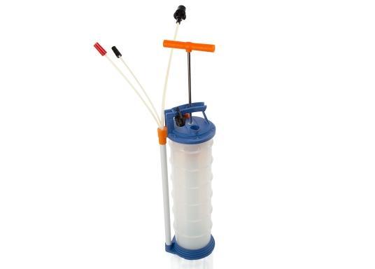 Universelle, einfach zu bedienende Absaugpumpe für Öle, Wasser und ähnliche Flüssigkeiten. Mithilfe von wenigen Hüben mit der Handpumpe wird ein Vakuum aufgebaut, das die Flüssigkeit in den Auffangbehälter saugt. Volumen: 6,5 Liter. (Bild 2 von 6)