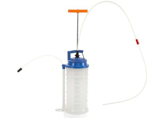 Universelle, einfach zu bedienende Absaugpumpe für Öle, Wasser und ähnliche Flüssigkeiten. Mithilfe von wenigen Hüben mit der Handpumpe wird ein Vakuum aufgebaut, das die Flüssigkeit in den Auffangbehälter saugt. Volumen: 10,5 Liter. (Bild 2 von 5)