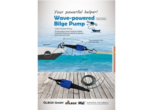 Die vollautomatische Bilgenpumpe wird zwischen Boot und Festmacherleine angebracht. Mit der Zugkraft am Anleger und der ständigen Bewegung durch Wind und Wasser wird die Pumpe betätigt.Lieferung inklusive zwei Schläuchen. (Bild 5 von 5)