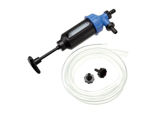 Pompe universelle pour l'huile, l'eau, le diesel, l'essence et autres liquides. Cette pompe de transfert manuelle est constituée d'un cylindre en plastique très résistant et de raccords filtrants.Volume : 200 ml.