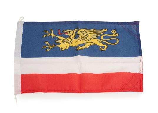 Robuste Nylon-Flaggen mit offiziellem Flaggen-Druck: Rostock. Hochwertige Verarbeitung mit 100%-Durchdruck, schnelle und einfache Befestigung.