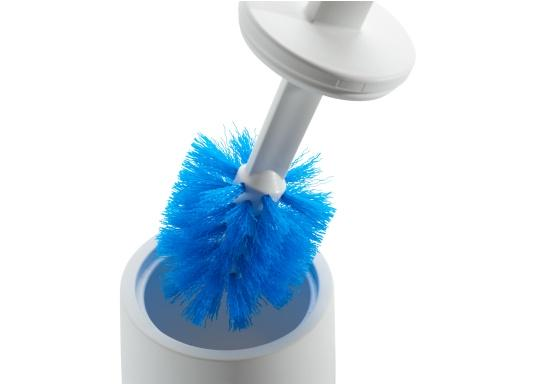 Replacement brushes for Dometic toilet brush. The brush head can be removed from the handle quickly and hygienically at the push of a button and replaced with a new brush head. Delivery includes: 3 spare brushes. (Image 2 of 2)