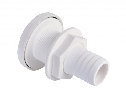 Hergestellt aus Kunststoff mit Gummiventil. Das Gummiventil verhindert das Eindringen von Wasser. Lieferbar mit 38 mm (1½ Zoll) Schlauchanschluss.  (Bild 2 von 3)