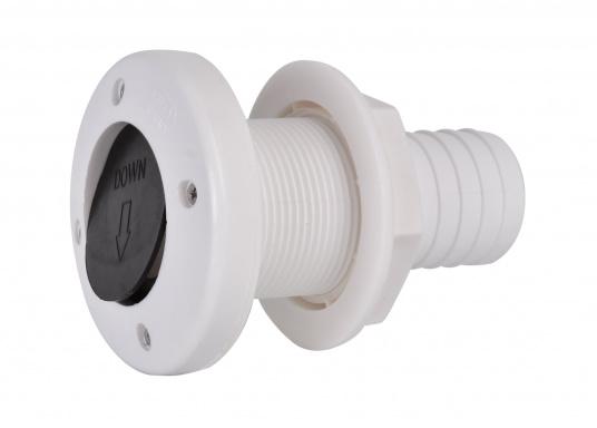 Hergestellt aus Kunststoff mit Gummiventil. Das Gummiventil verhindert das Eindringen von Wasser. Lieferbar mit 38 mm (1½ Zoll) Schlauchanschluss.