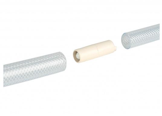 Kugel-Rückschlagventil aus Kunststoff für Schlaucheinbau. Passend für ½ Zoll (13 mm) Schlauch. Gesamtlänge: 48 mm.