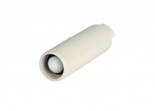 Kugel-Rückschlagventil aus Kunststoff für Schlaucheinbau. Passend für ½ Zoll (13 mm) Schlauch. Gesamtlänge: 48 mm. (Bild 2 von 2)