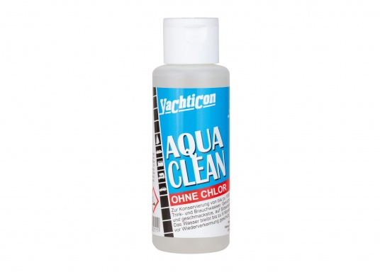 AQUA CLEAN keeps your water fresh and safe! In just two hours, your drinking water is disinfected and fresh. It remains free of germs for up to six months. AQUA CLEAN contains no chlorine or chemicals.