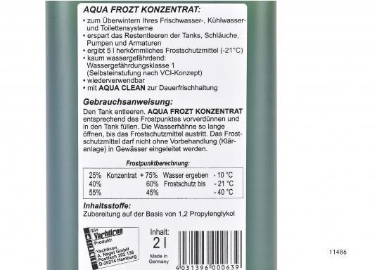 Wirkungsvoller Frostschutz für Ihre Trinkwasser- und WC-Anlage. AQUA FROZT erspart Ihnen das vollständige Entwässern der Systeme und bietet einen Frostschutz von bis zu -21°C.  (Bild 2 von 2)
