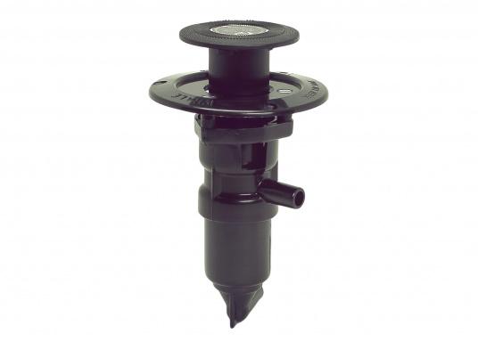 Selbstansaugende Kolben-Fußpumpe. Die Pumpe fördert bei jeder Hubbewegung Wasser. Auch für Seewasser geeignet. Der Stößel rastet nach Gebrauch bündig mit dem Fußboden ein.