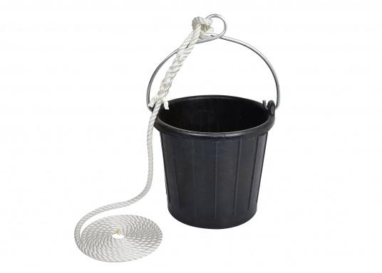 A must have on any boat! This draw bucket is made out of impact-resistant, nearly-indestructible rubber. It is equipped with a galvanized handle with an eyelet and a rope.