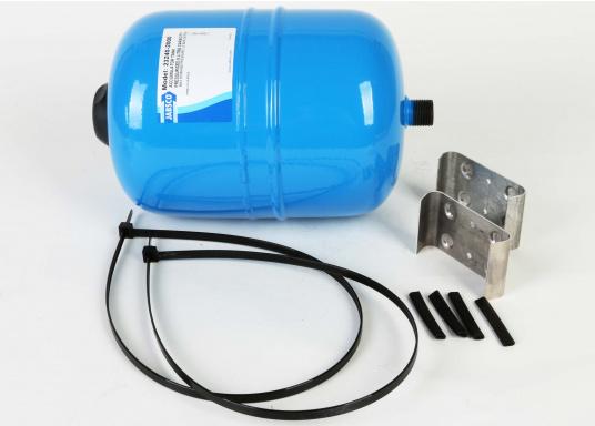 Dieser Metalldruckausgleichstank sorgt zuverlässig für eine gleichmäßige Wasserentnahme ohne pulsierende Druckschwankungen– so werden Wasserpumpe und Batteriekapazität geschont. Montage in beliebiger Position möglich. (Bild 6 von 6)