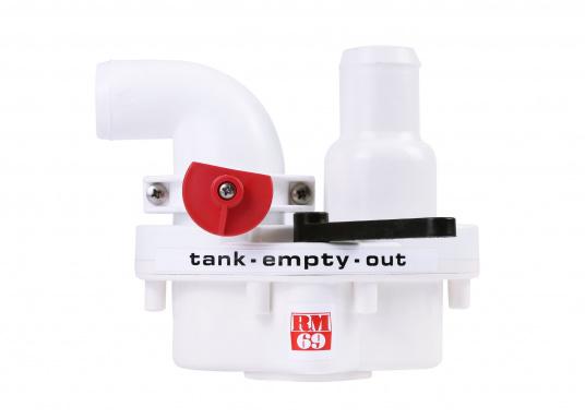 2-Wege-Ventil zur Direktmontage an allen manuellen RM 69 Toiletten.Sehr platzsparende Montage unmittelbar an den Handpumpen der Toilette.Im Lieferumfang ist ein Verschlussstopfen enthalten.