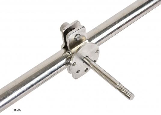 Sehr stabile Gurtbandspule für den Heck-Anker. Lieferung inklusive Halter, Führungsrolle und Gurtband (30 m oder 50 m). Alle Rollen sind mit einer Reibungsbremse versehen, die freies Abspulen verhindert.  (Bild 7 von 9)