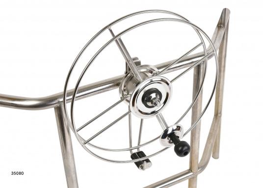Sehr stabile Gurtbandspule für den Heck-Anker. Lieferung inklusive Halter, Führungsrolle und Gurtband (30 m oder 50 m). Alle Rollen sind mit einer Reibungsbremse versehen, die freies Abspulen verhindert.  (Bild 9 von 9)