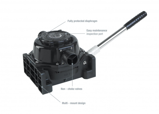 Powerful pump. Housing made out of high-quality, seawater, oil and sewage resistant plastic. Membrane and valves made out of oil resistant nitrile. Excellent for pumping waste water and sewage tanks. 