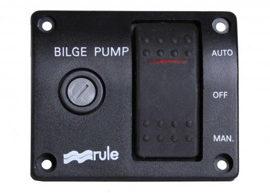 Kompakt aufgebaute Bilgenpumpen-Schalttafel mit integriertem Sicherungshalter, hergestellt aus Kunststoff.Schaltmöglichkeit: Automatikbetrieb / Aus / Manuelle Pumpensteuerung.