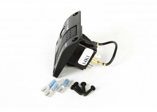 Kompakt aufgebaute Bilgenpumpen-Schalttafel mit integriertem Sicherungshalter, hergestellt aus Kunststoff.Schaltmöglichkeit: Automatikbetrieb / Aus / Manuelle Pumpensteuerung. (Bild 3 von 4)