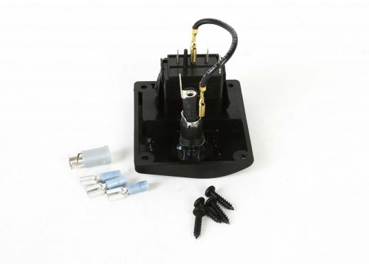 Kompakt aufgebaute Bilgenpumpen-Schalttafel mit integriertem Sicherungshalter, hergestellt aus Kunststoff.Schaltmöglichkeit: Automatikbetrieb / Aus / Manuelle Pumpensteuerung. (Bild 4 von 4)