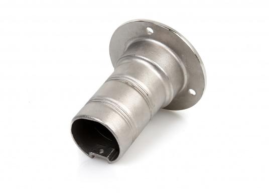 Edelstahl-Absaugstutzenzur Aufnahme von Absaugpistolen von Fäkalien-Entsorgungsstationen. Schlauchanschluss: 38 mm, äußerer Durchmesser: 76 mm.  (Bild 2 von 2)