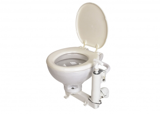 This marine toilet offers many advantages: easy installation, seawater-resistant materials, non-return valve, possible installation below water line, white porcelain basin.