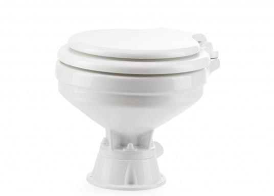 Besonders einfache Handhabung! Das Vakuum WC mit einem Becken aus Porzellan und einem Sitz und Deckel aus Kunststoff.  (Bild 2 von 8)