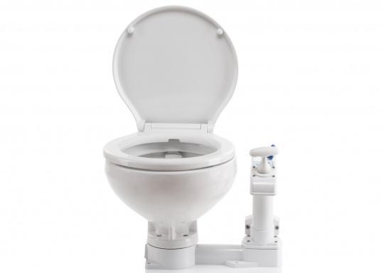Bedienkomfort, zeitloses Design und innovative Technik! Das WC besticht durch ein Becken aus feinstem China-Porzellan, Sitz und Softclose-Deckel sind aus Kunststoff gefertigt.  (Bild 6 von 13)
