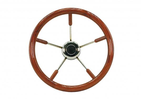 Diese aufwendig gearbeiteten Edelstahl-Steuerräder mit Edelholzring sind ein Schmuckstück für jeden Fahrstand! Lieferbar in verschiedenen Größen mit Mahagony-Ring (Ø 40 cm) oder Teak-Ring (Ø 50 / 60 / 70 / 80 cm). (Bild 2 von 3)
