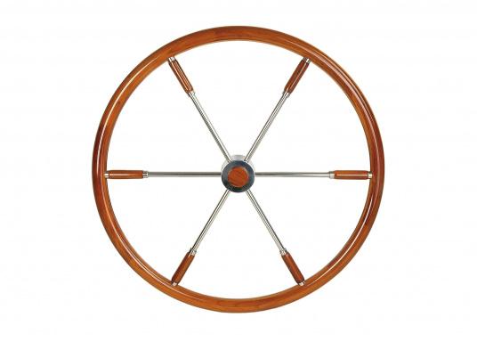 Diese aufwendig gearbeiteten Edelstahl-Steuerräder mit Edelholzring sind ein Schmuckstück für jeden Fahrstand! Lieferbar in verschiedenen Größen mit Mahagony-Ring (Ø 40 cm) oder Teak-Ring (Ø 50 / 60 / 70 / 80 cm). (Bild 3 von 3)