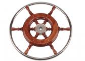 Mahogany Steering Wheel with Stainless Steel Rim