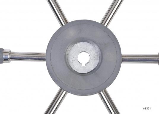 Steuerräder für den modernen Motorkreuzer. Die Steuerräder, sowie ein Teil der Speichen sind mit einer stabilen, griffigen Kunststoff-Ummantelung versehen. Lieferbar in verschiedenen Durchmessern.Farbe: grau.  (Bild 3 von 4)