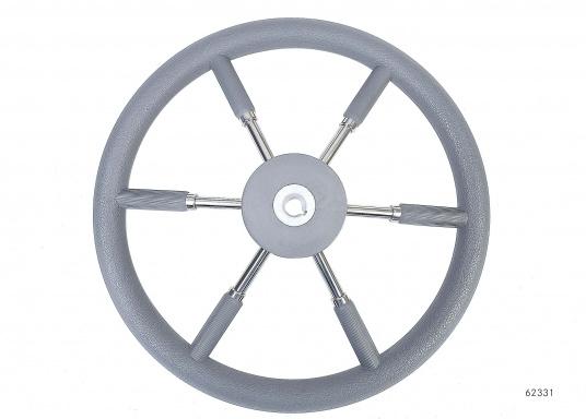 Steuerräder für den modernen Motorkreuzer. Die Steuerräder, sowie ein Teil der Speichen sind mit einer stabilen, griffigen Kunststoff-Ummantelung versehen. Lieferbar in verschiedenen Durchmessern.Farbe: grau.