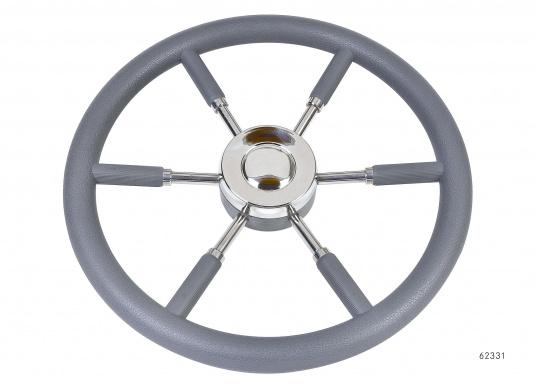 Steuerräder für den modernen Motorkreuzer. Die Steuerräder, sowie ein Teil der Speichen sind mit einer stabilen, griffigen Kunststoff-Ummantelung versehen. Lieferbar in verschiedenen Durchmessern.Farbe: grau.  (Bild 2 von 4)