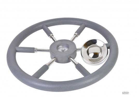 Steuerräder für den modernen Motorkreuzer. Die Steuerräder, sowie ein Teil der Speichen sind mit einer stabilen, griffigen Kunststoff-Ummantelung versehen. Lieferbar in verschiedenen Durchmessern.Farbe: grau.  (Bild 4 von 4)