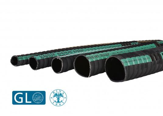 Tuyaux d'échappement pour systèmes d'échappement refroidis par eau. L'emploi de tuyau caoutchouc permet de réduire considérablement la résonnance. Prix au mètre.