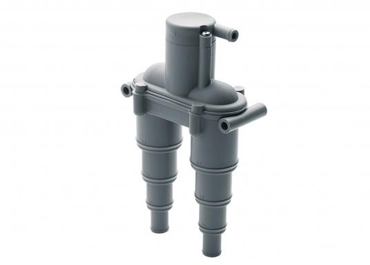 Belüftungsventil zur Belüftung desAbgassystems bzw. der Kühlwasserleitung.Der Belüfter ist aus korrosionsfestem Kunststoff gefertigt und passend für Schlauch-Ø: 13 / 19 / 25 / 32 mm. Lieferbar in zwei Ausführungen.  (Bild 3 von 4)
