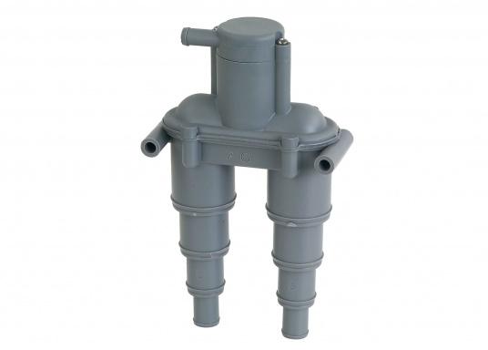 Belüftungsventil zur Belüftung desAbgassystems bzw. der Kühlwasserleitung.Der Belüfter ist aus korrosionsfestem Kunststoff gefertigt und passend für Schlauch-Ø: 13 / 19 / 25 / 32 mm. Lieferbar in zwei Ausführungen.  (Bild 2 von 4)